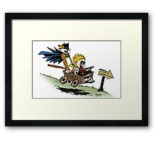 Calvin and Hobbes cosplaying Framed Print