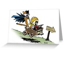 Calvin and Hobbes cosplaying Greeting Card