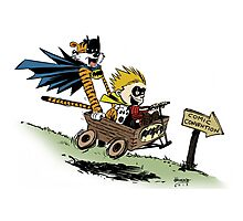 Calvin and Hobbes cosplaying Photographic Print