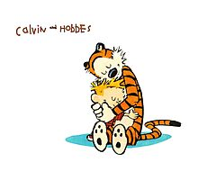 hug calvin and hobbes Photographic Print