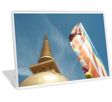 Buddhist flag and Golden Chedi Laptop Skin