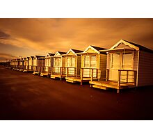 Sunset Beach Huts Photographic Print