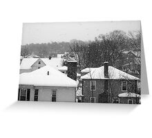 Snowy Buildings Greeting Card
