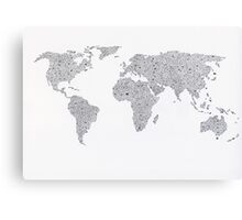 World map of hearts Canvas Print