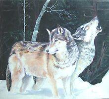 Alpha wolves rest before the hunt by H Frasier
