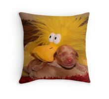 New Born Pups and Friend. Throw Pillow