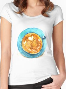 hearts and coffee Women's Fitted Scoop T-Shirt