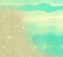 Aqua Teal Watercolor and Faux Glitter Mash by ChicPink