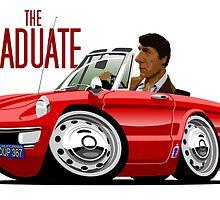 Alfa Romeo Duetto The Graduate caricature by car2oonz