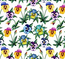 Pansy white pattern by JuliaBadeeva