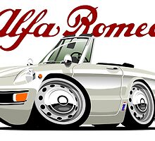 Alfa Romeo Spider Duetto white caricature by car2oonz
