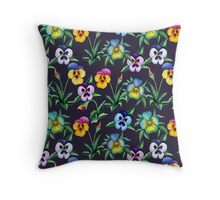 Pansy violet pattern Throw Pillow