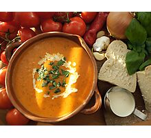 Cream of Tomato and Basil Soup Photographic Print