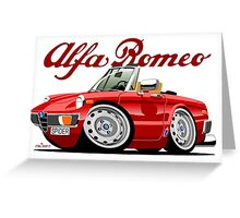 Alfa Romeo Spider red caricature Greeting Card