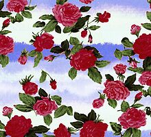 Red Roses on Blue Watercolor  by ChicPink