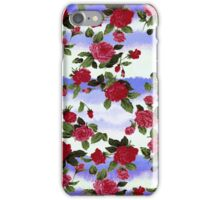 Red Roses on Blue Watercolor  iPhone Case/Skin