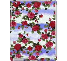 Red Roses on Blue Watercolor  iPad Case/Skin