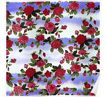 Red Roses on Blue Watercolor  Poster
