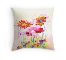 Colorful pink flowers, watercolor Throw Pillow