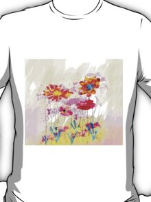 Colorful pink flowers, watercolor T-Shirt