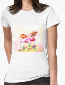 Colorful pink flowers, watercolor Womens Fitted T-Shirt