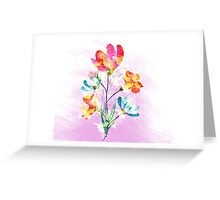 Poppy flowers, watercolor background Greeting Card