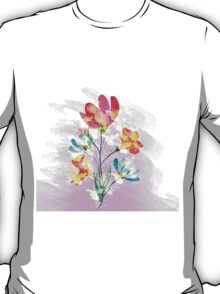 Poppy flowers, watercolor background T-Shirt