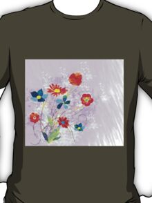 Scenic watercolor background, floral composition T-Shirt