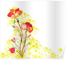 Spring Bouquet watercolor background Poster
