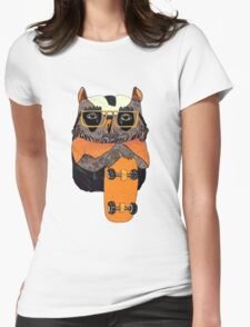 Suzi Owl Skater Womens Fitted T-Shirt