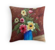 Flowers in Blue Vase Throw Pillow