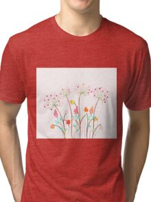 Beautiful Watercolor flower set over white background for design Tri-blend T-Shirt