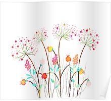 Beautiful Watercolor flower set over white background for design Poster