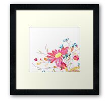 Colorful pink flowers, watercolor Framed Print