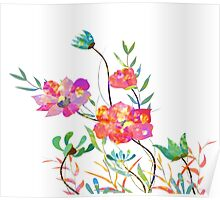 Poppy flowers, watercolor background Poster
