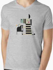 Music Zebra Mens V-Neck T-Shirt