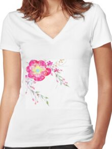 Spring romantic flowers, watercolor Women's Fitted V-Neck T-Shirt