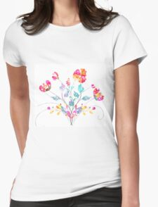Stylized Poppy flowers watercolor Womens Fitted T-Shirt