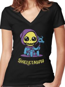 Cute Skeletor - Skeletaww Women's Fitted V-Neck T-Shirt