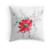 Summer illustration of flowers Throw Pillow