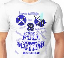 happy 2 bee eating a full Scottish Unisex T-Shirt