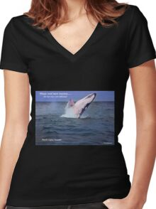 Please Send More Tourists - Humpback Whale Women's Fitted V-Neck T-Shirt