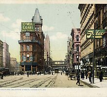 1909 KCMO Junction of Main and Delaware Streets, Kansas City, MO  by Steve Sutton