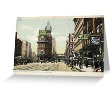 1909 KCMO Junction of Main and Delaware Streets, Kansas City, MO  Greeting Card