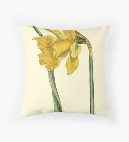 Daffodil Flower Botanical Throw Pillow