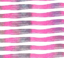 Pink and Purple Watercolor Brush Stroke Stripes by ChicPink
