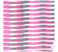 Pink and Purple Watercolor Brush Stroke Stripes Poster