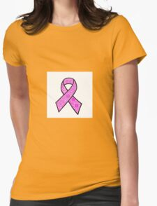 Breast Cancer Ribbon Zentangle Womens Fitted T-Shirt