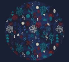Elements - a watercolor pattern in red, cream & navy blue Kids Clothes