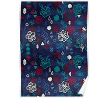 Elements - a watercolor pattern in red, cream & navy blue Poster